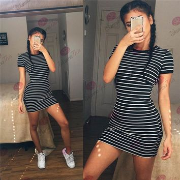 [ On Sale ] 2016 Summer Beach Holiday Stripes Printed Round Necked Short Sleeve Casual Party Playsuit Clubwear Bodycon Boho Dress [9615003917]