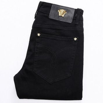 Medusa men slim small feet micro play casual hipster jeans trousers