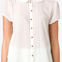 Pintucked Pleated Chiffon Shirt