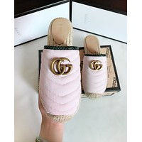GUCCI New fashion weave canvas high quality shoes slippers Pink