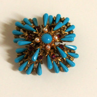 Outstanding signed HAR Brooch Designer Vintage Red Rhinestone Pearls Turquoise Glass gold Brooch/Pin Jewelry ~