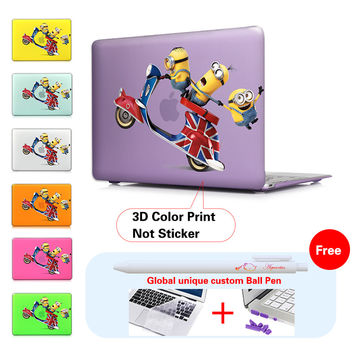 Unique Lovely Cartoon Minions Pattern Matte Hard Cover Case For Apple Macbook Air 11 13 Pro 13 15 Retina 13 15 Protective Shell