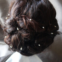 12 freshwater ivory rice pearl hair grips / pins for wedding or prom, gold