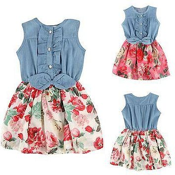 children's clothing summer floral print girl dress cotton vestidos baby girl child toddlers kids clothes dress for girl clothing