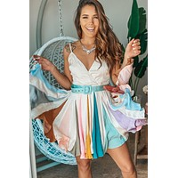 Ivory Multi Colored Short Dress with Belt