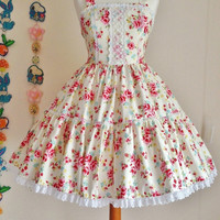 Classic Sweet Rose Flower Country Cute Lace Tiered Lolita Otome Jumperskirt Dress JSK