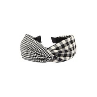 HDH2367 - PLAID KNOTTED FABRIC COATED HAIR BAND