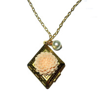 Gold Diamond Shaped Locket with Peach Flower and Pearl Dangle