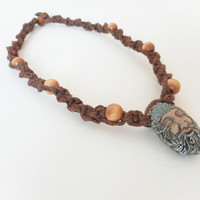 Twisted Brown Hemp Choker Necklace with Green Man Pendant, ready to ship.