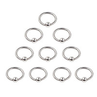 Ruifan 10PCS 316L Surgical Steel Captive Bead Rings Nose Belly Eyebrow Tragus Lip Ear Nipple Hoop Ring BCR 16G 8MM