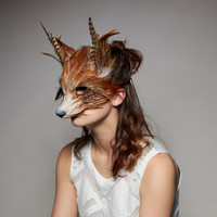 Handmade Red Fox Mask, Woodland Fox Mask, Festival Fox Headdress, Carnival Mask