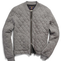 Quilted Bomber Jacket in Heather Grey