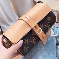LV Fashion New Monogram Print Leather Shoulder Bag Crossbody Bag Brown