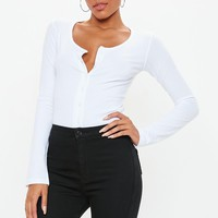 Missguided - White Button Front Plunge Top