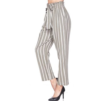 High Waisted Linen Striped Ankle Pants with Front Tie
