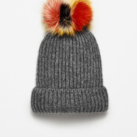 RIB KNIT HAT WITH POM-POM