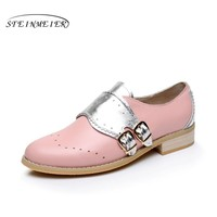 Cow leather big woman US size 10.5 designer vintage flats shoes round toe handmade silver pink oxford shoes for women with fur