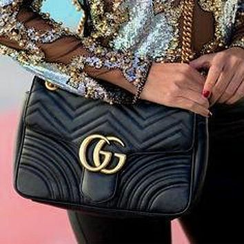 Gucci Classic Popular Women Shopping Leather GG Buckle Crossbody Satchel Shoulde Bag