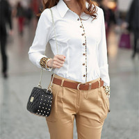 Leopard Trimmed Collar Button Long Sleeves Top