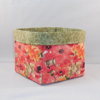 Orange And Red Poppy Themed Fabric Basket For Storage Or Gift Giving