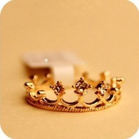 Lovely Cute Crown Gold Crystal Rhinestone Ring