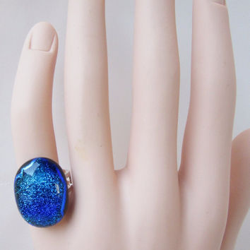 Fused Glass Adjustable Statement Ring, Dichroic Glass Ring, Cocktail Ring, Statement Ring, Solitaire Ring, Pinky Ring