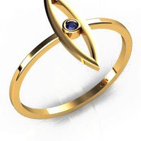 Long Evil Eye ring in 14K Yellow Gold with Blue Sapphire