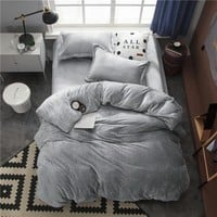 Twin Full Queen King size Bedding Set Gray Fleece Warm Bed sheet Fitted sheet Bed Duvet cover parrure de lit ropa/juego de cama