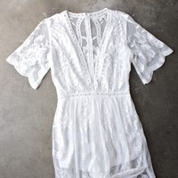 as you wish embroidered lace maxi dress (women) - white