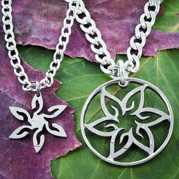 Flower Friends Necklaces, Inside and Outside Pieces, Hand Cut Coin by Namecoins