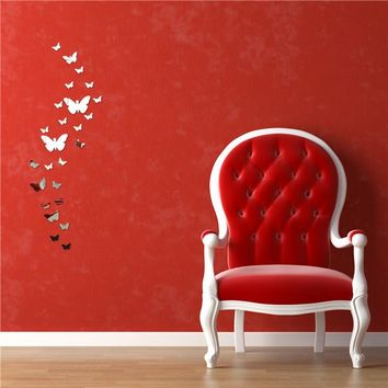 12pcs 3D Mirror Butterfly Wall Stickers Decal Wall Art Removable Homer Party Wedding Decorations Silver