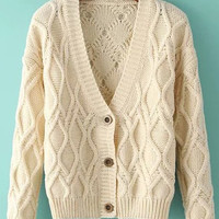 Beige Flax Patterns V-Neck Long Sleeve Cardigan