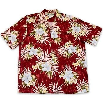 Hibiscus Isles Red Hawaiian Rayon Shirt