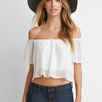 Off-the-Shoulder Flutter-Sleeve Crop Top