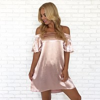 Rose Gold Off Shoulder Strapless Dress