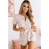 On Safari Zipper Front Romper (Taupe/White)