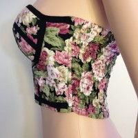 Midriff Bustier Top With Multi Color Floral Pattern