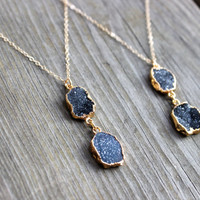 Dark Quartz Druzy Pendant Necklace on 14k Gold Filled Chain Gray Black Quartz Double Druzy Drop Charm Necklace