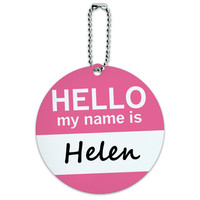 Helen Hello My Name Is Round ID Card Luggage Tag