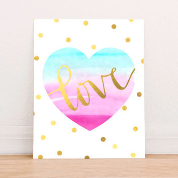 Gold Foil Heart Love Art Print Printable, Valentine Printable , Gold Nursery Wall Decor, Watercolor Nursery Art, Instant Download Wedding