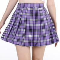 Glitters For Dinner — Made To Order - As If Pleated Skirt in Purple Tartan