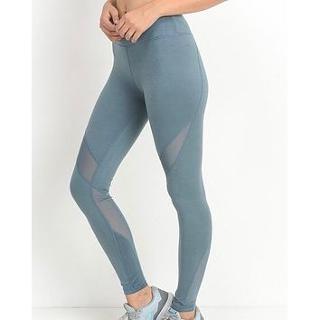 Final Sale - Active Hearts - Athletic Leggings with Mesh Insert in Light Teal Blue