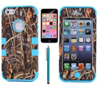 XYUN® 3-pieces Straw Grass Mossy Camo Hybrid Hard Silicone Cover Case for Iphone 5c with Free Screen Protector and Stylus (Rose)