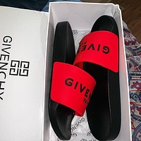 Givenchy Women Men Letters Sandals Slippers Shoes Red
