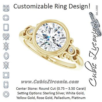 Cubic Zirconia Engagement Ring- The Viridiana (Customizable 5-stone Design with Round Cut Center and Quad Round-Bezel Accents)