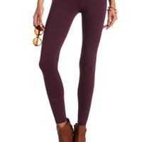 Solid Stretch Cotton Leggings by Charlotte Russe - Deep Purple