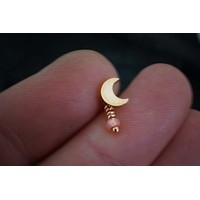 Rose Gold Crescent Moon Helix Cartilage Tragus Earring Piercing 16 Gauge