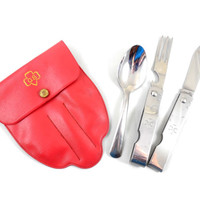 """Girl Scout Utensil Set in Belt Pouch 5 1/4"""", Vintage Girl Scout Camping Utensils, Vinyl Belt Pouch, Folding Fork, Knife and Short Spoon"""