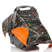 Infant Carseat Canopy, Car Seat Canopy, Carseat Cover, Baby Boy, True Timber Camo, Real Tree, Orange Minky, True Timber Cotton