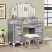 Athy Transitional Style Vanity With Stool, Silver